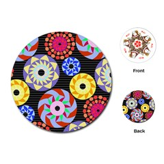 Colorful Retro Circular Pattern Playing Cards (Round)