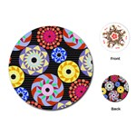 Colorful Retro Circular Pattern Playing Cards (Round)  Front