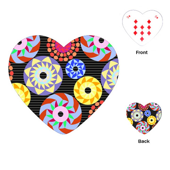 Colorful Retro Circular Pattern Playing Cards (Heart)