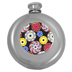 Colorful Retro Circular Pattern Round Hip Flask (5 oz)
