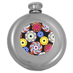 Colorful Retro Circular Pattern Round Hip Flask (5 oz) Front