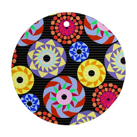 Colorful Retro Circular Pattern Round Ornament (Two Sides)
