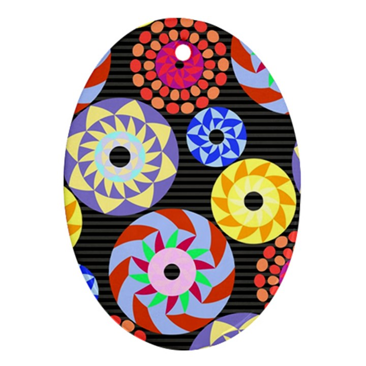 Colorful Retro Circular Pattern Oval Ornament (Two Sides)