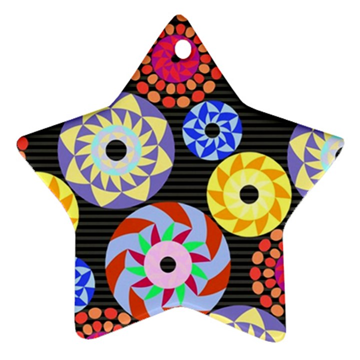 Colorful Retro Circular Pattern Star Ornament (Two Sides)