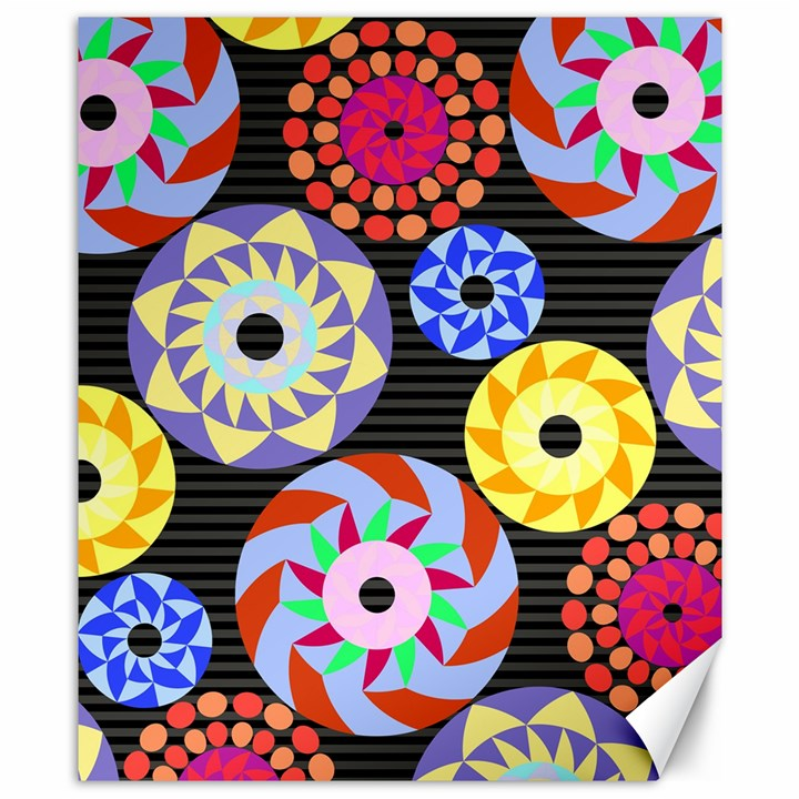 Colorful Retro Circular Pattern Canvas 8  x 10