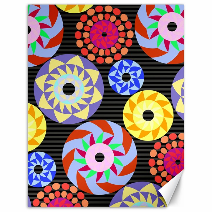 Colorful Retro Circular Pattern Canvas 12  x 16