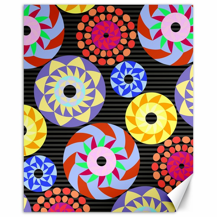 Colorful Retro Circular Pattern Canvas 16  x 20