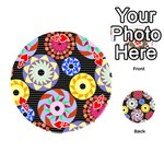 Colorful Retro Circular Pattern Playing Cards 54 (Round)  Front - Heart4