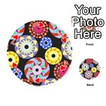 Colorful Retro Circular Pattern Playing Cards 54 (Round)  Front - Heart7