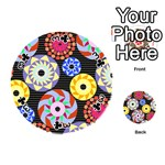 Colorful Retro Circular Pattern Playing Cards 54 (Round)  Front - Club3