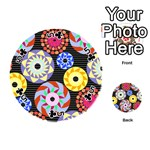 Colorful Retro Circular Pattern Playing Cards 54 (Round)  Front - Club5