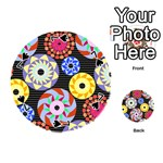 Colorful Retro Circular Pattern Playing Cards 54 (Round)  Front - Spade7