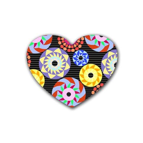 Colorful Retro Circular Pattern Rubber Coaster (Heart)