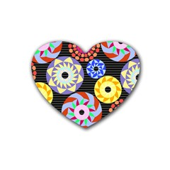 Colorful Retro Circular Pattern Rubber Coaster (Heart)