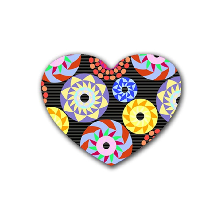 Colorful Retro Circular Pattern Heart Coaster (4 pack)