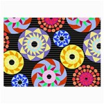 Colorful Retro Circular Pattern Large Glasses Cloth (2-Side) Back
