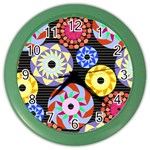 Colorful Retro Circular Pattern Color Wall Clocks Front