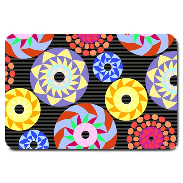 Colorful Retro Circular Pattern Large Doormat