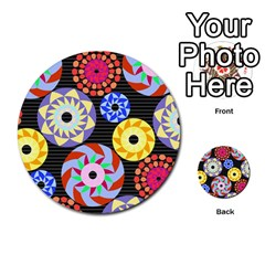 Colorful Retro Circular Pattern Multi Purpose Cards (round)