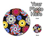Colorful Retro Circular Pattern Multi-purpose Cards (Round)  Back 9