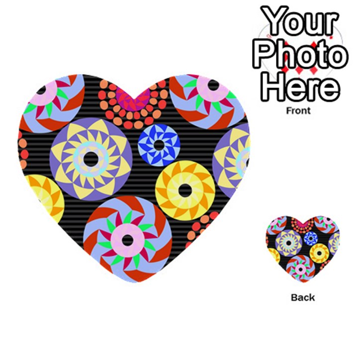Colorful Retro Circular Pattern Multi-purpose Cards (Heart)