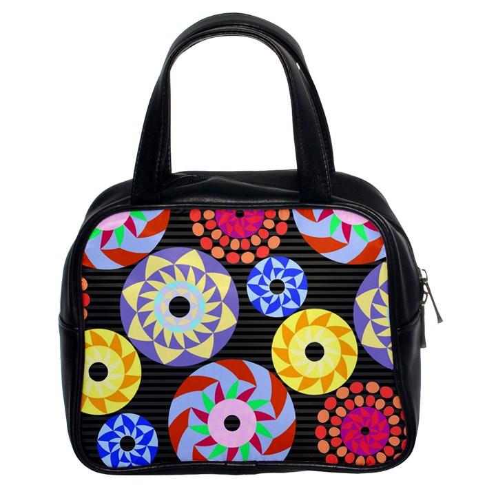 Colorful Retro Circular Pattern Classic Handbags (2 Sides)