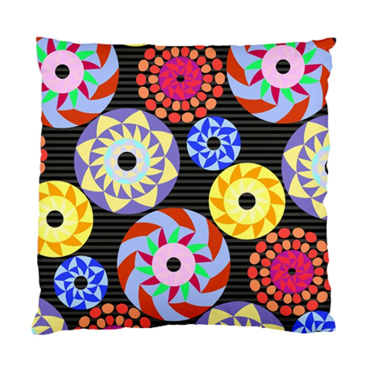 Colorful Retro Circular Pattern Standard Cushion Case (One Side)