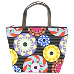 Colorful Retro Circular Pattern Bucket Bags Front