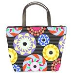 Colorful Retro Circular Pattern Bucket Bags Back