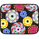 Colorful Retro Circular Pattern Double Sided Fleece Blanket (Mini)  35 x27 Blanket Front