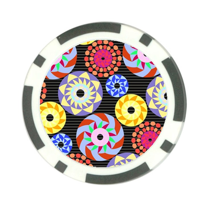 Colorful Retro Circular Pattern Poker Chip Card Guards (10 pack)