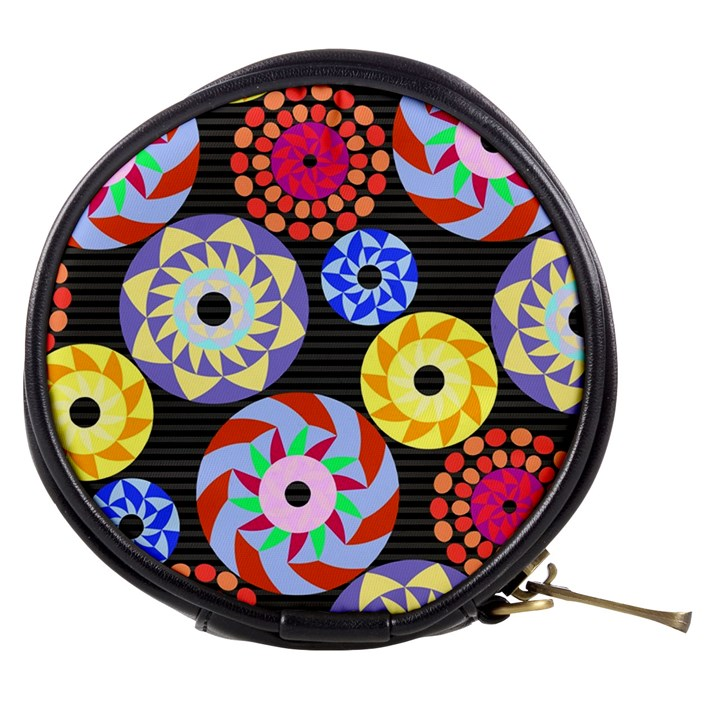 Colorful Retro Circular Pattern Mini Makeup Bags