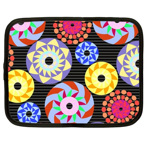 Colorful Retro Circular Pattern Netbook Case (XL)