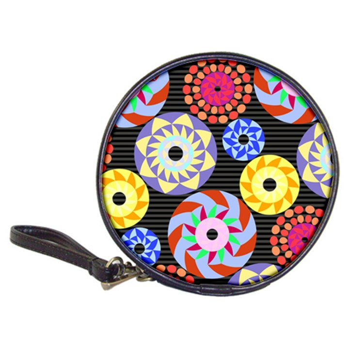 Colorful Retro Circular Pattern Classic 20-CD Wallets