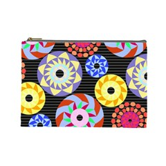 Colorful Retro Circular Pattern Cosmetic Bag (Large)
