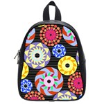 Colorful Retro Circular Pattern School Bags (Small)  Front