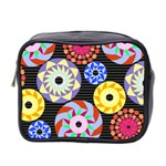 Colorful Retro Circular Pattern Mini Toiletries Bag 2-Side Front
