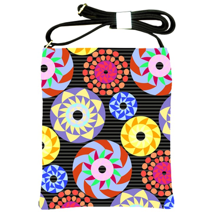 Colorful Retro Circular Pattern Shoulder Sling Bags