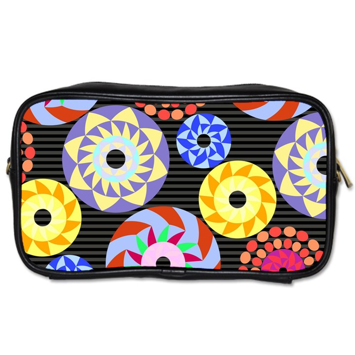 Colorful Retro Circular Pattern Toiletries Bags
