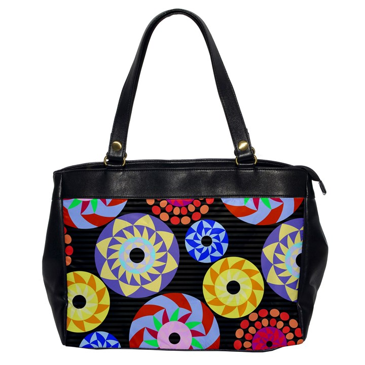 Colorful Retro Circular Pattern Office Handbags