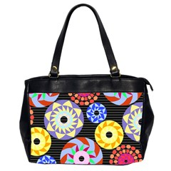 Colorful Retro Circular Pattern Office Handbags (2 Sides)