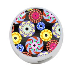Colorful Retro Circular Pattern 4 Port Usb Hub (one Side)