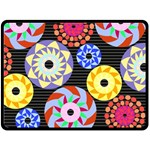 Colorful Retro Circular Pattern Fleece Blanket (Large)  80 x60 Blanket Front