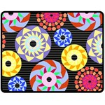 Colorful Retro Circular Pattern Fleece Blanket (Medium)  60 x50 Blanket Front