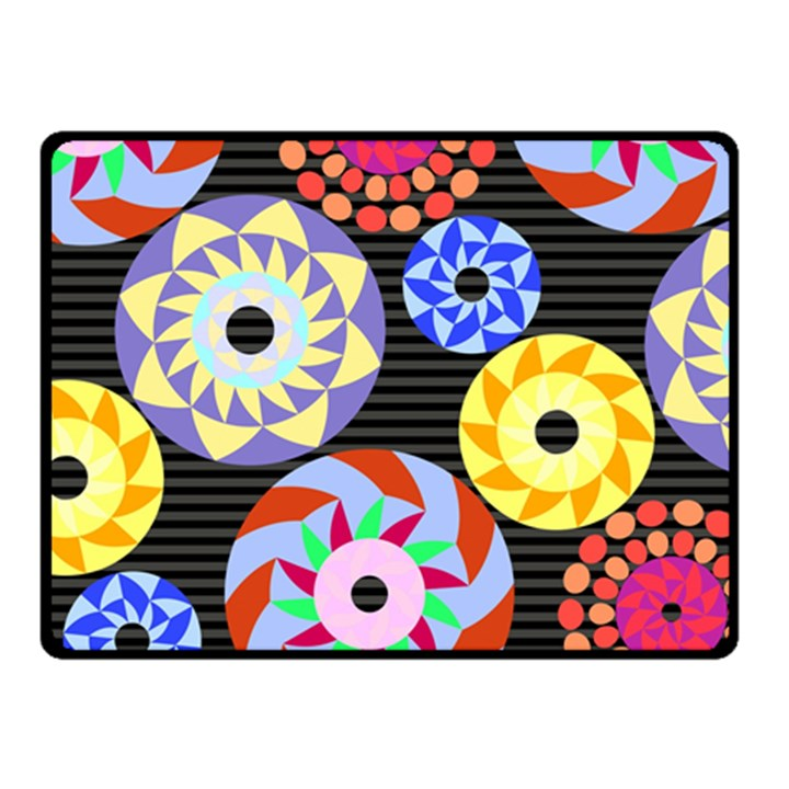 Colorful Retro Circular Pattern Fleece Blanket (Small)
