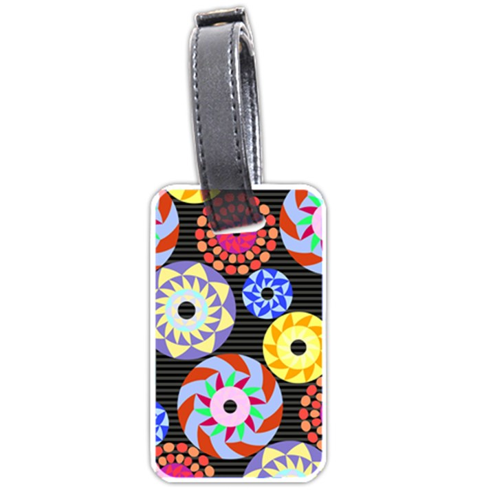 Colorful Retro Circular Pattern Luggage Tags (Two Sides)