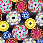 Colorful Retro Circular Pattern Magic Photo Cubes Side 1