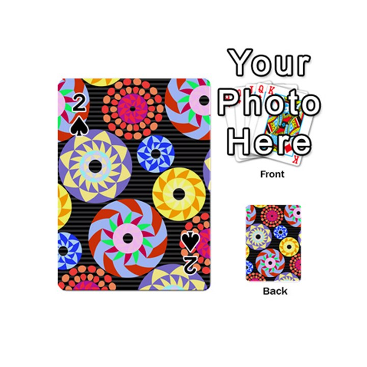 Colorful Retro Circular Pattern Playing Cards 54 (Mini)