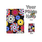 Colorful Retro Circular Pattern Playing Cards 54 (Mini)  Front - Heart9