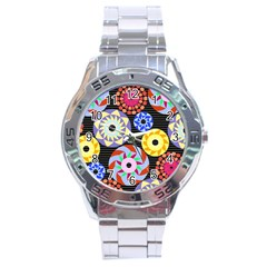 Colorful Retro Circular Pattern Stainless Steel Analogue Watch